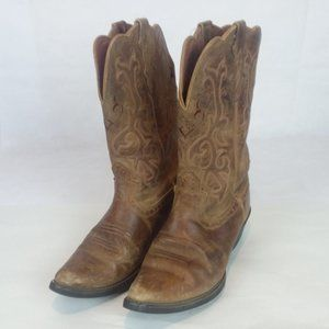 Women's Brown Embroidered Boots Size 8.5 B Justin
